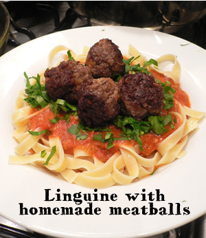 Linguine with homemade meatballs