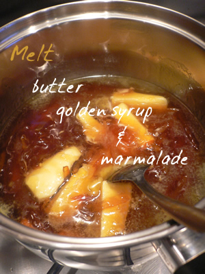 butter, golden syrup and marmalade melting
