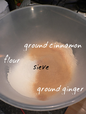 sieve flour, ground ginger and cinnamon