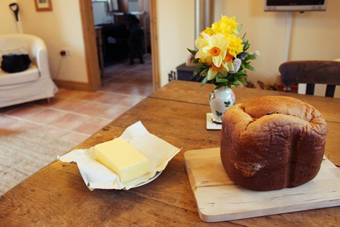 homemade bread and garden flowers