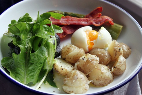 Cheshire new potato salad with bacon and soft-boiled egg