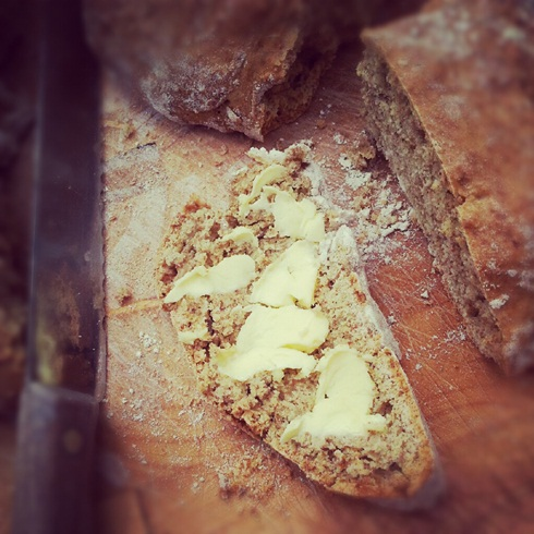 Homemade soda bread with farm butter
