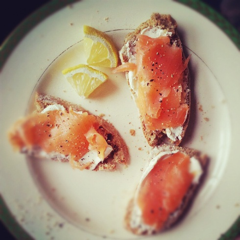 Soda bread with cream cheese and smoked trout