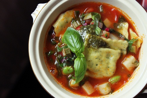 Homemade minestrone soup with ravioli and raw basil pesto | Eat the ...