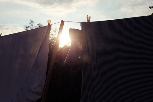 Washing line at sunset